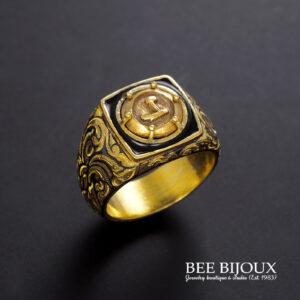 แหวนถมทองประดับหัวนโม